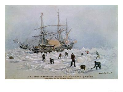Hms Terror as She Appeared after Being Thrown up by the Ice in Frozen Channel, September 27th 1836-Lieutenant Smyth-Giclee Print