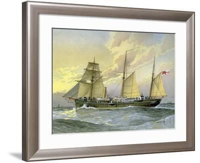 HMS Thrush, British 1st Class Gunboat, C1890-C1893-William Frederick Mitchell-Framed Giclee Print