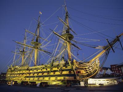 Hms Victory at Night, Portsmouth Dockyard, Portsmouth, Hampshire, England, United Kingdom, Europe-Jean Brooks-Photographic Print