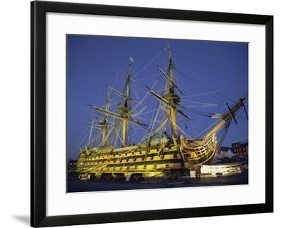 Hms Victory at Night, Portsmouth Dockyard, Portsmouth, Hampshire, England, United Kingdom, Europe-Jean Brooks-Framed Photographic Print