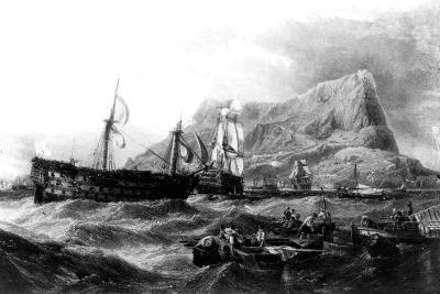 HMS Victory Towed Back to Gibraltar, 1805, 19th Century--Giclee Print