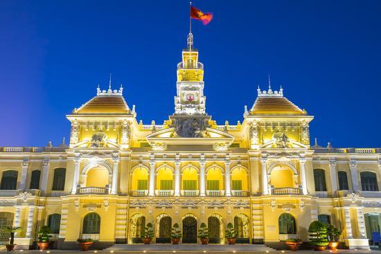 Ho Chi Minh City Hall (Ho Chi Minh City People's Committee) at night, Ho Chi Minh City (Saigon), Vi-Jason Langley-Photographic Print