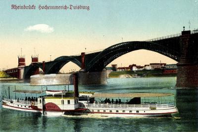 Hochemmerich Duisburg, Rheinbrücke Und Dampfer--Giclee Print