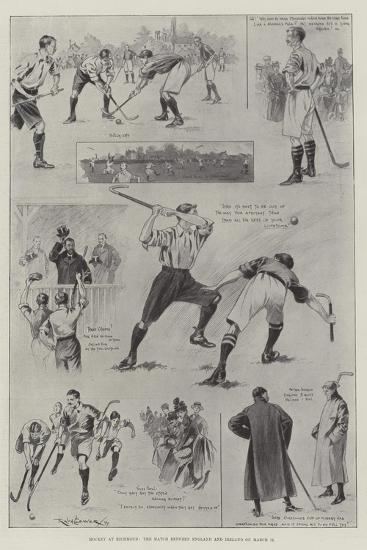 Hockey at Richmond, the Match Between England and Ireland on 11 March-Ralph Cleaver-Giclee Print
