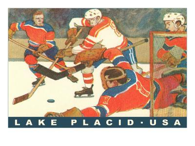 Hockey Game in Lake Placid, New York--Art Print
