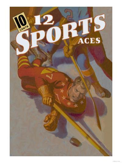 Hockey Player Down on the Ice--Art Print