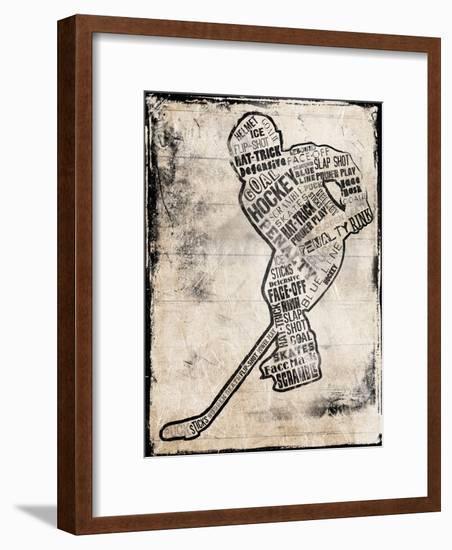 Hockey Type Black-Jace Grey-Framed Art Print