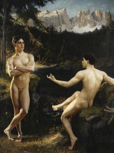Male Nudes by a River in an Alpine Landscape by Hofer Gottfried