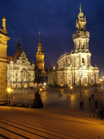 Hofkirche and Palace at Theaterplatz, Dresden, Saxony, Germany, Europe-Hans Peter Merten-Photographic Print