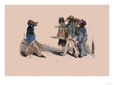 Hog and Dogs- Grandville-Art Print