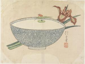 Bowl of Water with Tiny Boatman Floating, C. 1830 by Hogyoku