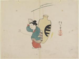 (Mobile of Woman Figure and Sake Bottle), C. 1830 by Hogyoku