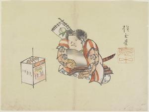Momotaro Using a Fan, C. 1830 by Hogyoku