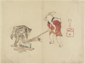 Rabbit and Raccoon Chopping Straw, C. 1830 by Hogyoku