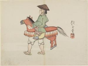 (Street Performer with Horse Costume), C. 1830 by Hogyoku