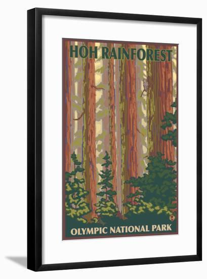 Hoh Rainforest - Olympic National Park-Lantern Press-Framed Art Print