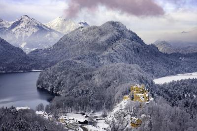 Hohenschwangau Castle and the Mountains of Bavaria Near Schwangau, Germany-Brian Jannsen-Photographic Print