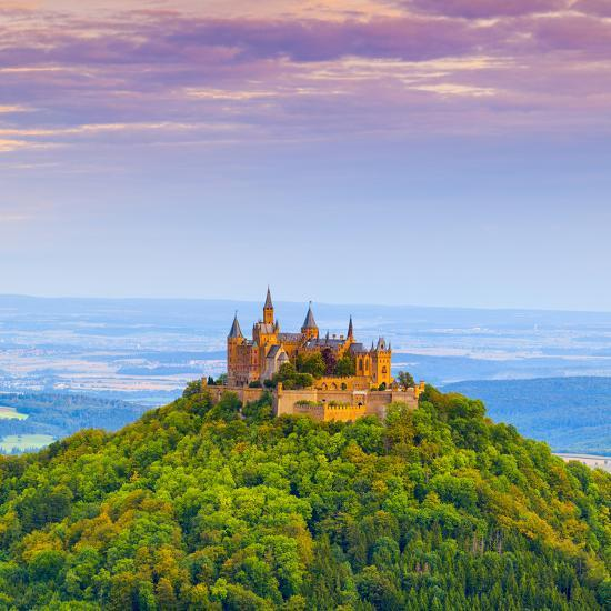 Hohenzollern Castle and Surrounding Countryside at Sunrise, Swabia, Baden Wuerttemberg-Doug Pearson-Photographic Print
