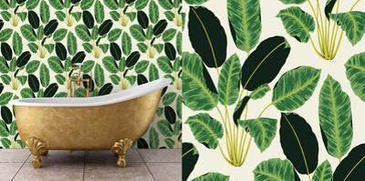 Hojas Cubanas Rich Emerald Self-Adhesive Wallpaper