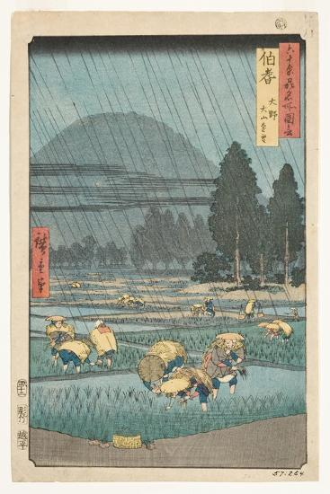 Hoki Province, Ono, Distant View of Mount Daisen, 1853-Utagawa Hiroshige-Giclee Print