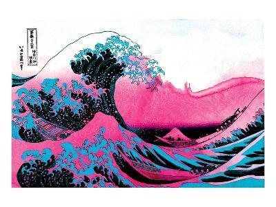 Hokusai - Pink Wave II--Art Print