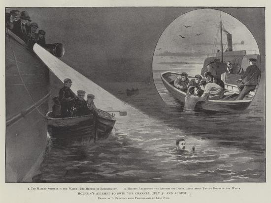 Holbein's Attempt to Swim the Channel, 31 July and 1 August-Paul Frenzeny-Giclee Print