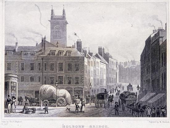 Holborn Bridge, London, C1830-William Woolnoth-Giclee Print