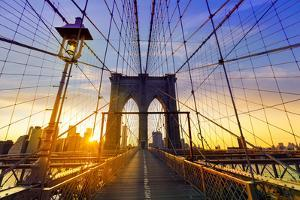 Brooklyn Bridge Sunset New York Manhattan Skyline NY NYC USA by holbox
