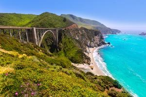 California Bixby Bridge in Big Sur in Monterey County along State Route 1 US by holbox