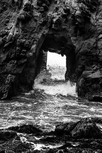 California Pfeiffer Beach in Big Sur State Park Dramatic Black and White Rocks and Waves by holbox