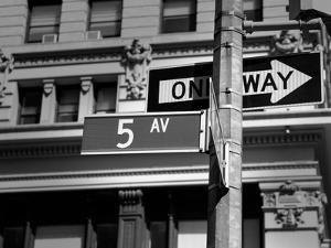 Fifth Avenue Sign 5 Th Av New York Manhattan USA Black & White by holbox