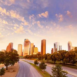 Houston Skyline at Sunset from Allen Pkwy Texas USA US America by holbox