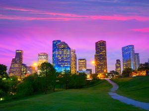 Houston Texas Modern Skyline at Sunset Twilight from Park Lawn by holbox