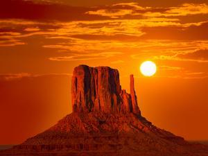 Monument Valley West Mitten at Sunrise Sun Orange Sky Utah Photo Mount by holbox