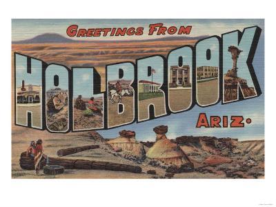 Holbrook, Arizona - Large Letter Scenes-Lantern Press-Art Print