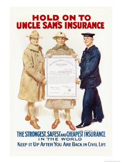 Hold on to Uncle Sam's Insurance-James Montgomery Flagg-Art Print