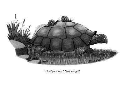 """Hold your hat ! Here we go!"" - New Yorker Cartoon-Dana Fradon-Premium Giclee Print"
