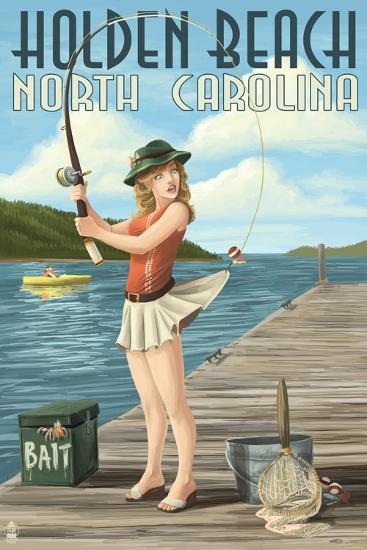 Holden Beach, North Carolina - Pinup Girl Fishing-Lantern Press-Art Print