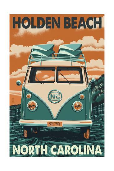 Holden Beach, North Carolina - VW Van-Lantern Press-Art Print