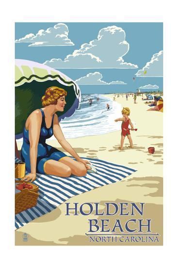 Holden Beach, North Carolina - Woman on Beach-Lantern Press-Art Print