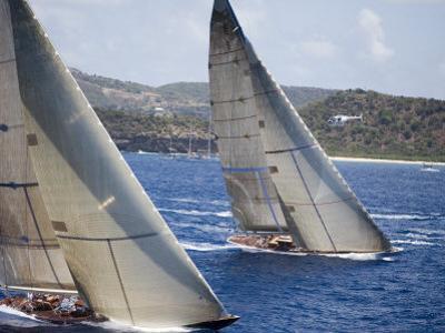 Aerial Photo of J-Class Cutters, Antigua Classic Yacht Regatta, Antigua & Barbuda by Holger Leue