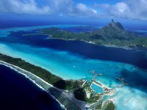 Aerial View of Island, French Polynesia by Holger Leue