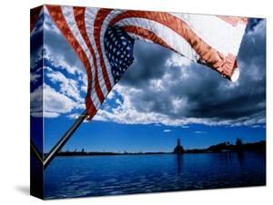 American Flag and Uss Missouri at Pearl Harbour, USA by Holger Leue