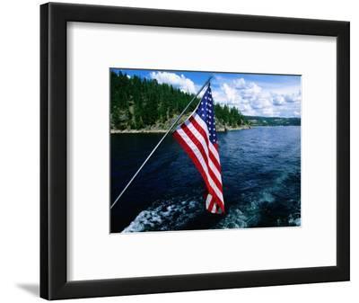 American Flag on Boat, Lake Coeur d'Alene, Coeur d'Alene, Idaho