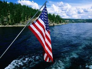 American Flag on Boat, Lake Coeur d'Alene, Coeur d'Alene, Idaho by Holger Leue