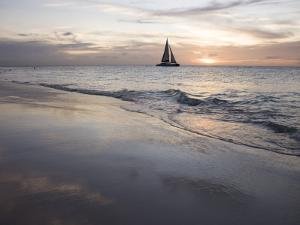 Catamaran at Sunset Seen from Bucuti Beach Resort on Eagle Beach by Holger Leue
