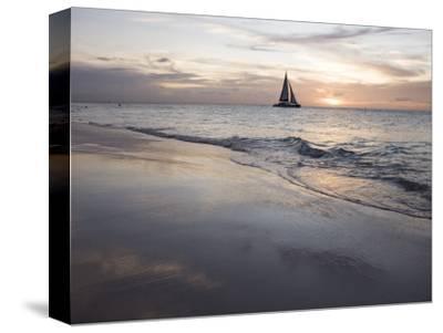 Catamaran at Sunset Seen from Bucuti Beach Resort on Eagle Beach