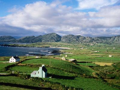 Cottages with Coastline in Distance, Ireland