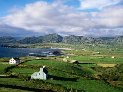 Cottages with Coastline in Distance, Ireland