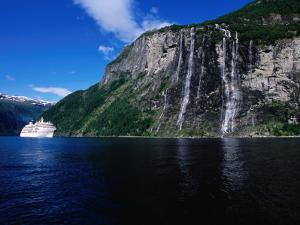 Cruise Ship Passing Seven Sisters Waterfalls, Geirangerfjord, Geiranger, Norway by Holger Leue